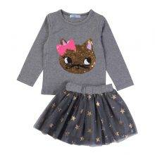 Girl's Clothing Sets with Cat
