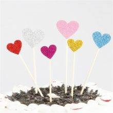 Handmade Lovely Heart Shaped Cupcake Toppers (40 Pcs)