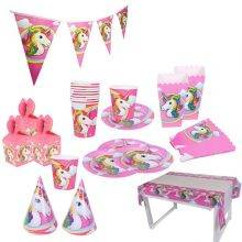 Unicorn Printed Set of Tableware for Christening Party