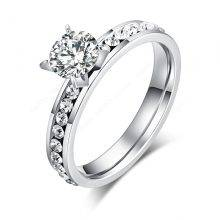 Patterned Stainless Steel Ring with Rhinestone