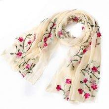 Women's Floral Embroidered Silk Scarf