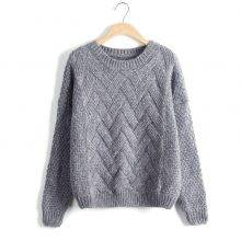 Women's O-Neck Cable Knit Sweater