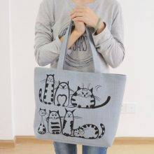 Women's Canvas Tote Bag with Cat Print
