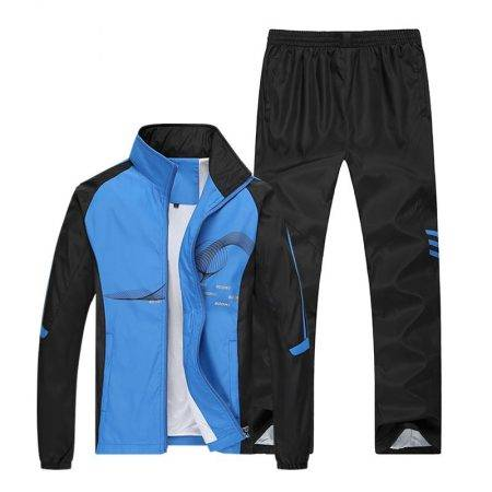 (Running Set) Sport Men's Jogging Suit Men's Clothing Suits Color : Blue |White|Gray