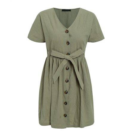 Cotton Casual V-Neck Dress Dresses Women's Clothing Color : Apricot|Gray Green|Brick Red
