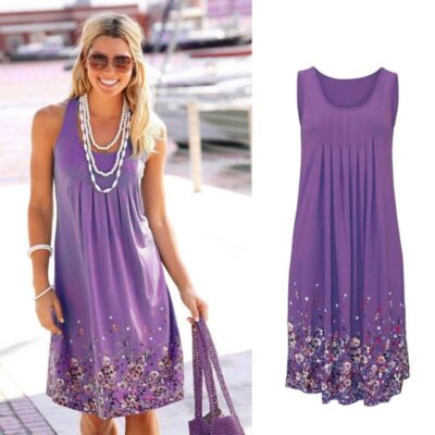 Women's Sleeveless Floral Printed Dress Dresses Women's Clothing Color : 1|2|3|4|5|6
