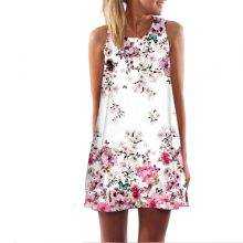Women's Floral Printed Sleeveless O-Neck Dress