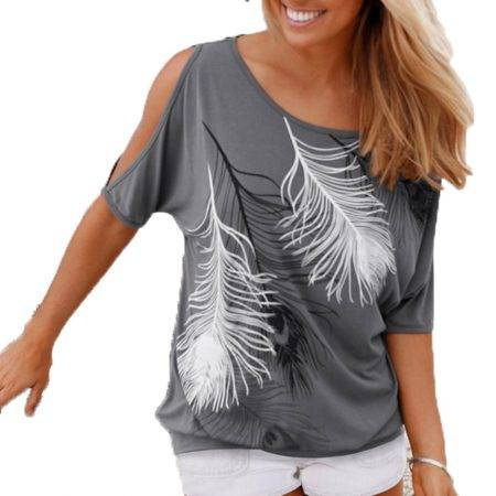 Women's Boho Style Printed T-Shirt Tops & Tees Women's Clothing Color : Blue|Gray|Dark Grey|Red