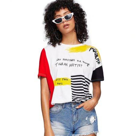 Women's Colorful Summer T-Shirt Tops & Tees Women's Clothing Color : Multicolor